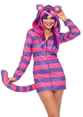 Leg Avenue 85553 Cozy Cheshire-Katze, Damen Karneval Kostüm Fasching, L, rosa/lila (Katze Kostüm Leg)