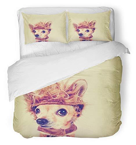 3 Stück Bettbezug-Set atmungsaktiv gebürstet Mikrofaser Stoff Tier winzige Chihuahua in Löwe Kostüm mit Retro Vintage Dog getönt lustige Halloween-Bettwäsche-Set mit 2 Kissenbezügen Twin Size