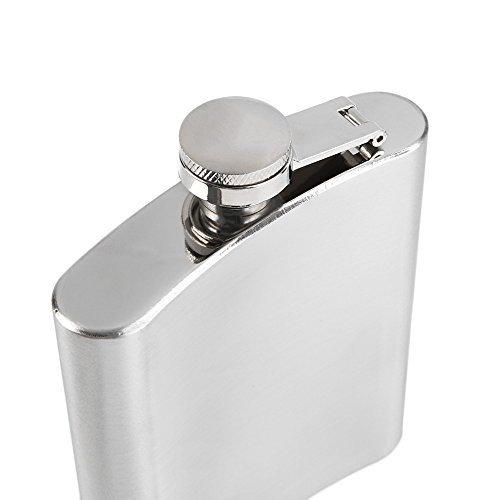 Edelstahl Flachmann 7 oz. 200ml mit Schraubverschlussdeckel und Füll Trichter