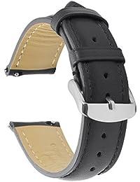 Cuir Véritable Quick Release Montre Bracelet Bande 22mm Remplacement Dégagement Rapide Fixation Rapide Inoxydable Polie Boucle ,Super Doux Rembourré (18mm 19mm 20mm 22mm)