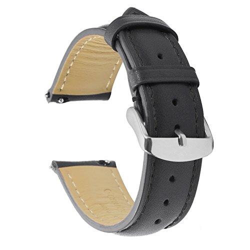 Cuir Véritable Quick Release Montre Bracelet Bande 20mm Remplacement Dégagement Rapide Fixation Rapide Inoxydable Polie Boucle,Super Doux Rembourré (18mm 19mm 20mm 22mm)