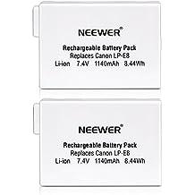 Neewer® 2 paquetes 7.4V 1140mAh LP-E8 Reemplazo Batería Rercargable para Empuñadura BG-E8 Canon 550D/600D/650D/700D Rebel T2i/T3i/T4i/T5i