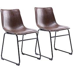 RFIVER 2 Sillas de Comedor Recepción Espera con Asiento en Cuero Sintético y Base de Metal Duro para Salon, Dormitorio, Escritorio de Color marrón BS1003