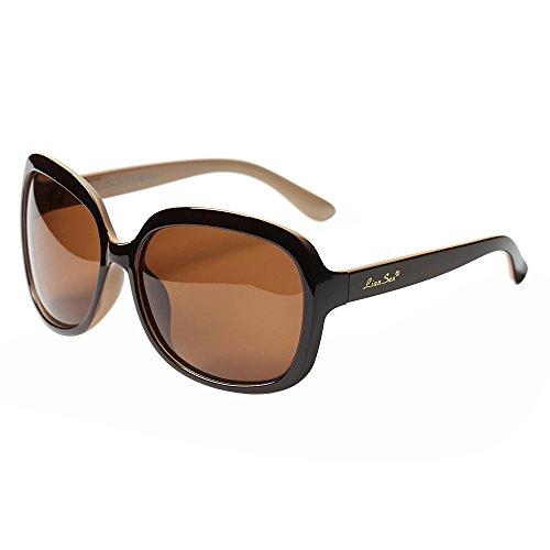 LianSan Sonnenbrille Oversize Fashion Damen UV400 Schutz Polarized LSP301BN braun