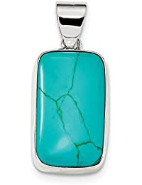 ICE CARATS 925 Sterling Silver Rectangle Blue Turquoise Pendant Charm Necklace Natural Stone Fine Jewelry Gift Set For Women Heart
