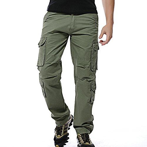 Cargo Hose 52 (Sunshey Jungen Herren Cargohose Lang Arbeitshose aus Baumwolle mit mehrere Tasche Outdoor hochwertig, armee-grün, DE 52/Etikette 36)