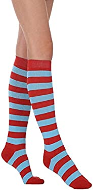 JEJO Women Cotton Knee High Socks Rainbow Colorful Striped Cosplay Dance Party Breathable Stretch Long Stockin