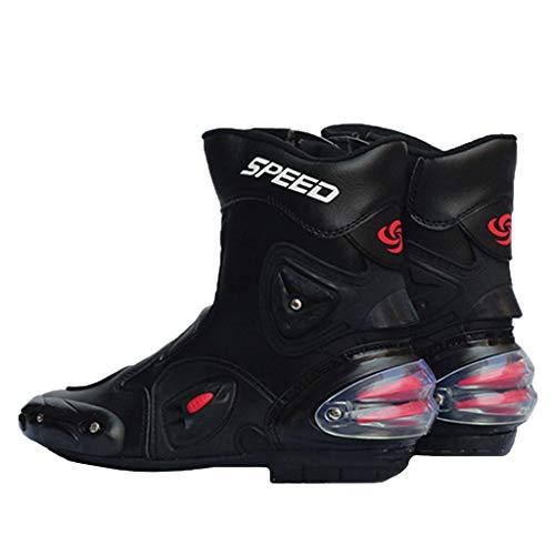 ABCWSTY Stivali da Moto con la Chiusura Lampo per Gli Uomini, per la Sicurezza della Motocicletta Stivaletti Traspirante Corsa Stivali stradali Stivali protettivi Soft Rider Boots,Black-42