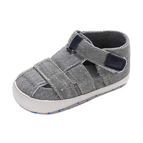 feiXIANG Unisex Baby Schuhe Kinderschuhe Segeltuchschuhe Mädchen Junge Säuglings Einfarbig Sandalen 12-18 M (Grau,0-6 Monat=11) -