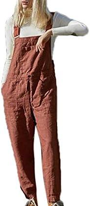 Linnen tuinbroek Jumpsuit Dames - Relaxte pasvorm Bib-overall Jumpsuits boxpakje met zakken