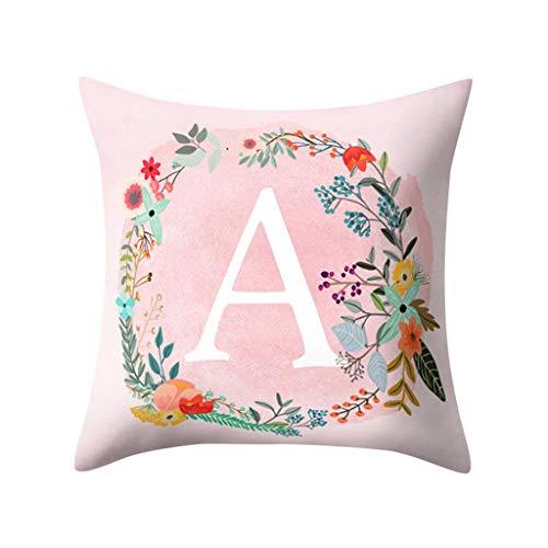 Mitlfuny Haus & Garten ->Englisch Alphabet Kissen Druck Kissen Blume Kissenbezug Raumdekoration -