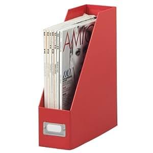 Zeller 17828 Boîte de rangement en carton pour magazines Rouge 32,5 x 10 x 27,5 cm