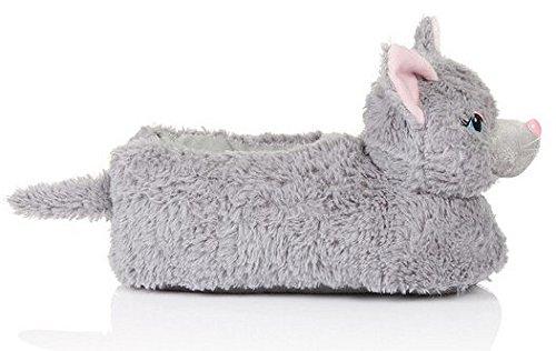 Unisex Tierhausschuhe aus Plüsch - Kinder & Erwachsene Grigio (Grey cat)