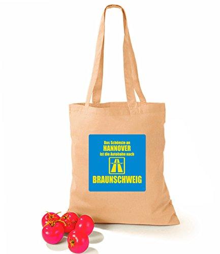 Artdiktat Baumwolltasche Das Schönste an Hannover ist die Autobahn nach Braunchweig violet sand