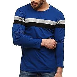 GRITSTONES Men's Cotton T-Shirt (Blue_X-Large)