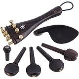 Winomo Violino di Professional 4/4 parti di violino legno ebano Piroli mento resto fine Pin sintonizzatori coda Gut