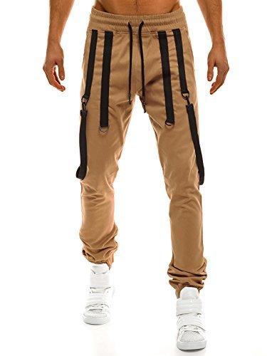 OZONEE Pantaloni Uomo Pantaloni Sport Jogging Fitness ATHLETIC 367 CAMEL _athletic-0920
