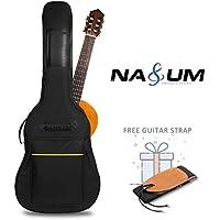 NASUM Funda para Guitarra 41 Pulgadas Bolsa Negra de Guitarra Impermeable Nylon 600D Oxford Goma en Fondo Doble Stitched correas acolchadas