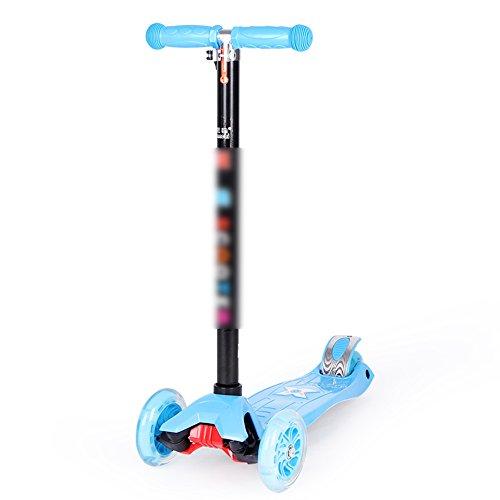 QFFL huabanche Scooter Scooter para Dos Ruedas para Principiantes Scooter Plegable para niños 3-12 años Bloque Deslizante Azul