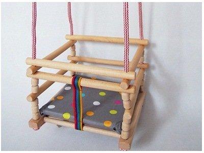 FK-Lampem AN-75 Babyschaukel viele Varianten! Kinderartikel Kinderschaukel Holzschaukel (Roh-lackiert, mit Kissen Grau Kugeln)