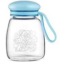 Un día 350 ml botella de agua de vidrio con manga y llevando loop sin BPA