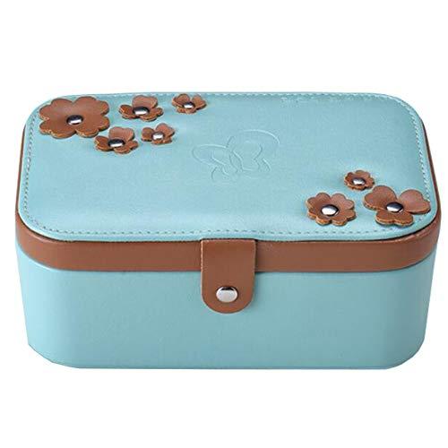 Faux-leder-lagerung (NTT Faux Leder Schmuckbox, weiche Lining Internal Scratch-resistent, Zwei-Tier-Lagerung verschließbar, Tablett Earrings Ring Armband (rosa Weiß-Blau),Blue)