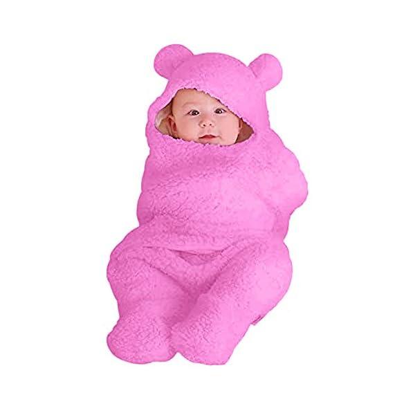 Newborn Baby Sleeping Bag Boys Girls Cute Cotton Plush Receiving Blanket Wrap Swaddle Warm Receiving Blanket Sleep Sack Stroller Wrap for Baby Photography Props Bath Towel 1