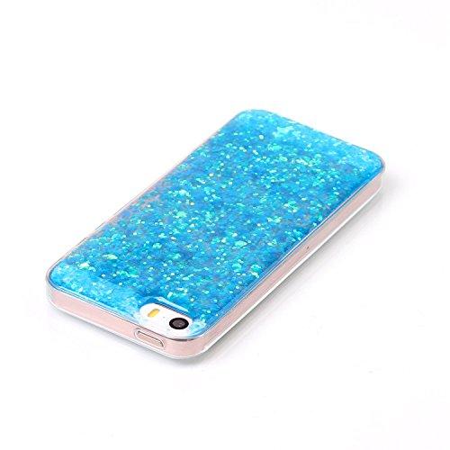 """Cover pour Apple iPhone 5G/5s/SE 4.0"""", CLTPY Jelly Gelée Bling Diamant Série avec Plaquage Protection de Bord Incurvée Résistant Aux Rayures Couverture Ajustement Parfait pour iPhone 5G,iPhone 5s,iPho Paillettes Bleu"""