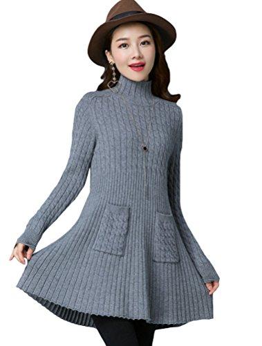 MatchLife Femme Mini Robe Tricotée Pull Col Haut Montant Ourlet Evasé Gris