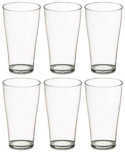 Set 6x Trinkgläser Biergläser 400ml Polycarbonat Kunststoff bruchsicher Polycarbonat Drinkware