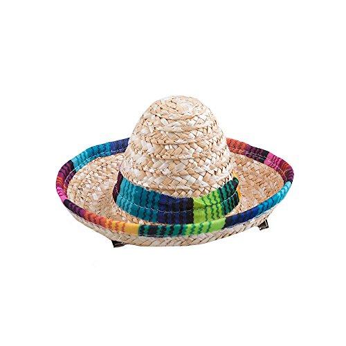 ini-Hut Sombrero aus Stoh, mit Clips (Mini Sombrero Party Hüte)