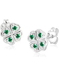 Elli Damen-Ohrstecker Kleeblatt 925 Sterling Silber Swarovski Kristall grün Brillantschliff 311692311