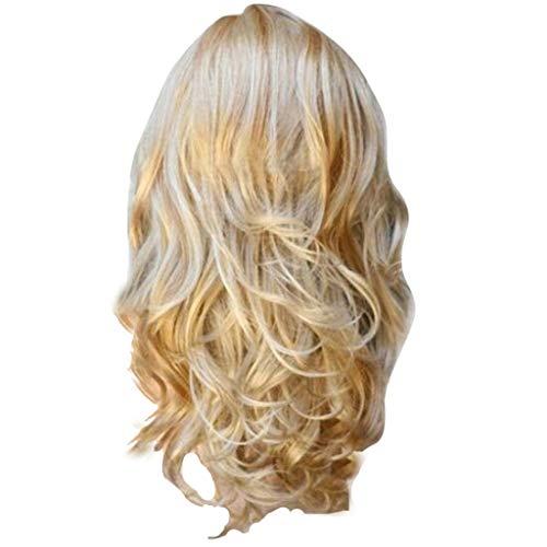 Front Perücke Lange Welle Synthetische Perücke für Frau Halloween Kostüm Asche Blonde DE Perücken Hitzebeständige Natürlich Aussehende Cosplay Mode (A) ()