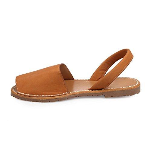 La Modeuse Sandales Plates en Simili Cuir Camel