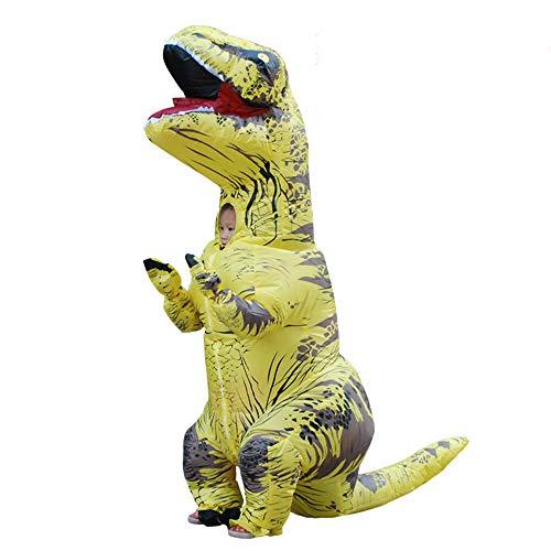 Disfraz hinchable de dinosaurio de Halloween, traje de Tyrannosaurus Anime Performance para niños, amarillo