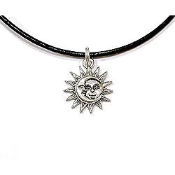 Sol Cara de luna Gargantilla, sol luna Gargantilla, encanto gargantilla, Collar de gargantilla, Negro Gargantilla, Hippie, Boho, Grunge Gargantilla de Gargantilla, sol, luna Gargantilla