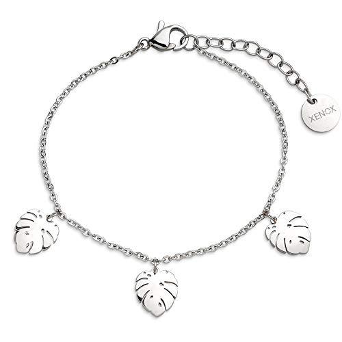 Xenox Damen-Armband URBAN JUNGLE mit Mostera Anhänger aus Edelstahl