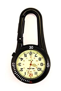 Black Clip on Carabiner FOB Watch with Luminous Face Ideal for Doctors Nurses Paramedics Chefs by Bullahshah Traders Ltd