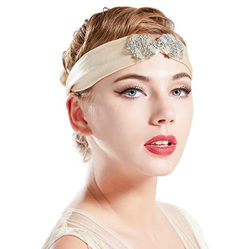 Coucoland 1920s Stirnband Damen Turban Hut Stil 20er Jahre Flapper Haarband Great Gatsby Damen Fasching Kostüm Accessoires (Hellgold)
