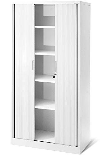 Rolladenschrank T001, Jalousieschrank, Aktenschrank, Büroschrank, Universalschrank, Querrolladenschrank Büro Schrank mit Rolltüren (weiß/weiß)