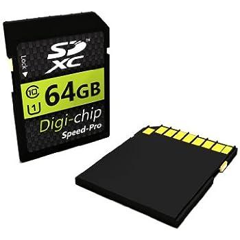 Digi-Chip – 64 GB 64 GB Class 10 SD SDXC Tarjeta de Memoria para Sony Alpha a6000, Alpha 7S, Alpha A5100, Alpha 7 II, Alpha 7R II & Sony SLT-A77 II