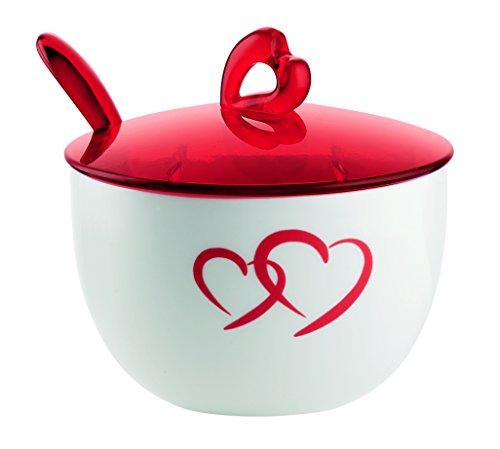 Guzzini Love Zuccheriera con Cucchiaino, Porcellana, Rosso Trasparente, 13x9.5x10 cm