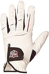Wilson Staff Herren Golfhandschuh, Mehrgewebekonstruktion, Größe ML, Links, MLH, Weiß, Grip Plus, WGJA00910ML
