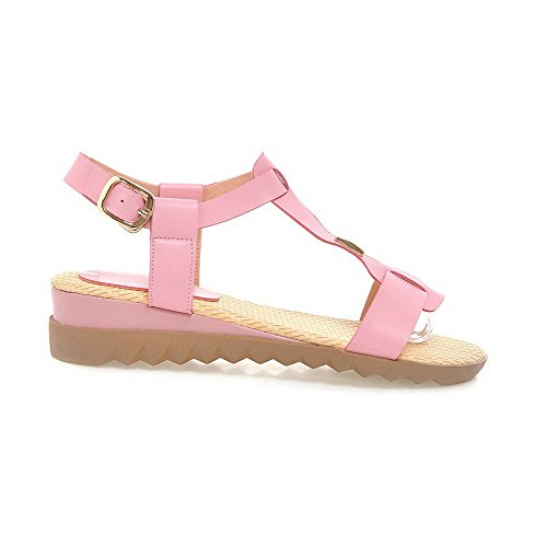 VogueZone009 Donna Tacco Basso Finta Pelle Scamosciata Chiodato Fibbia Heeled-Sandals Rosa