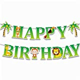 Csheng Bannière, Jungle Animal Lion Vert Bruant des Guirlandes Pendentif Happy Birthday Papier Mur DIY Mur Fenêtre Décoration Fête d'anniversaire Hommes Femmes Enfant Photo Props 01
