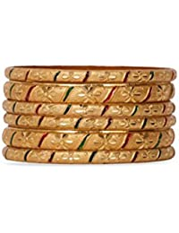 Set Of 6 Traditional Jewellery Gold Plated Bangles For Daily Use With Red And Green Intricate Meenakari Work For...