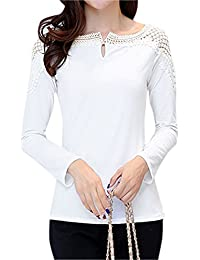 sourcingmap® Women Round Neck Long Sleeves Crochet Design Slim Fit Casual T-Shirt