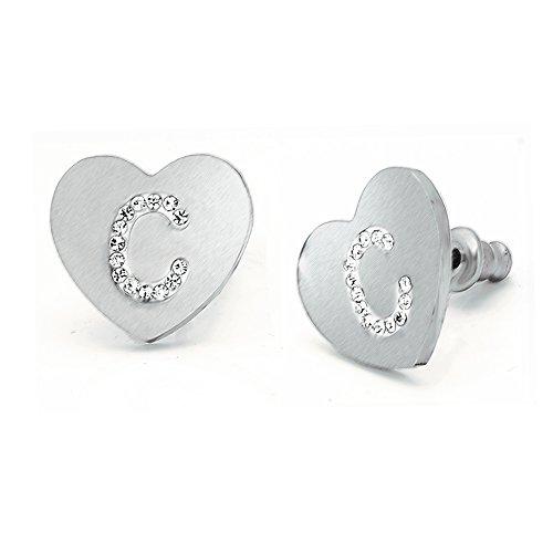 Beloved Orecchini da donna con cristalli in acciaio - con lettera iniziale a forma di cuore - lettera dell'alfabeto in cristalli - Con perno e farfallina - per lobi forati (C)