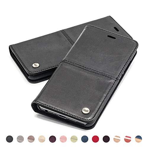 QIOTTI Hülle Kompatibel mit iPhone 6s Plus I iPhone 6 Plus Ledertasche aus Hochwertigem Leder RFID NFC Schutz mit Kartenfach Standfunktion in Schwarz - Telefonieren Iphone 6 Plus