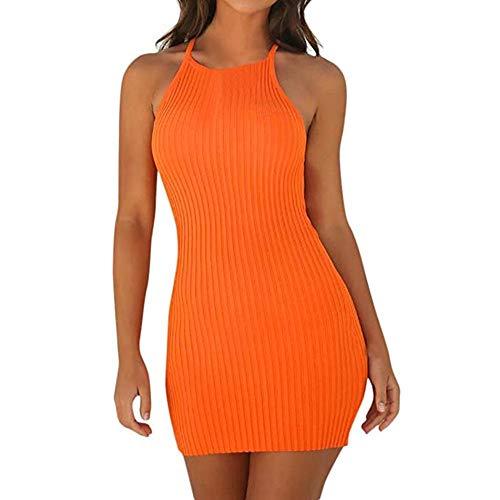 2018 New Femme été Casual Slim Mini Robe Courte, Femmes Moulante Solide Mini Robe de Fête sans Manches Sexy Confortable Robes Serré Crayon Robes Courte Ba Zha Hei (XL, Orange)